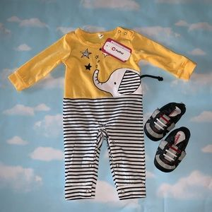 NWT Striped Elephant Coverall 0-3M